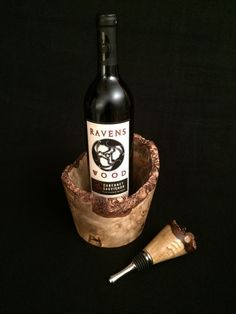 Hand-turned Myrtlewood burl wine serving set with  matching bark-top wine stopper and bottle coaster ~ Made in Oregon by Kinda Knotty Woodcrafts