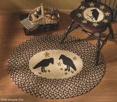 Olde Crow Hooked & Braided Rug, by Park Designs. The Olde Crow Collection featur… – Braided Rugs Primitive Crafts, Country Primitive, Crochet Stitches, Crochet Patterns, Crochet Home, Crochet Rugs, Braided Rugs, Yarn Bowl, Chair Pads