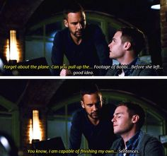 "- ""You know, I am capable of finishing my own..."" - ""Sentences"" - Hunter and Fitz ((Bromance feels)) #AgentsOfSHIELD"