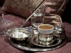 When we were completely stuffed, we ended our meal with some rich Turkish coffee. If we had room, the restaurant also serves great traditional Turkish desserts, like baklava and semolina halva. Arabic Coffee, Turkish Coffee, Chocolate Fondue, Punch Bowls, Istanbul, Food To Make, Coffee Maker, Dining, Romani
