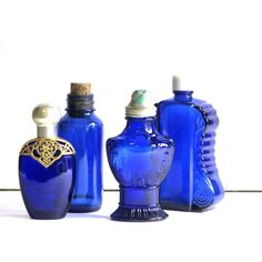 Collectible Cobalt Blue Glass Bottles Instant Collection Apothecary... ($45) ❤ liked on Polyvore featuring home and home decor