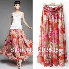 2014 Women's Clothes Flower Print Women Long Skirt Bohemian Maxi Skirt Beach Skirts 90cm Length
