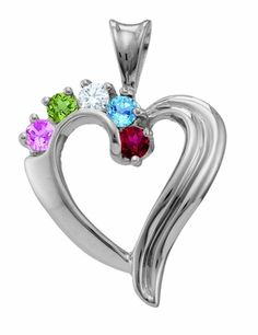 Our Beautiful Family Heart Necklace Sterling Silvers graceful lines evoke a timeless quality. Your choice of 2 to 6 3mm brilliant cut birthstones for family or loved ones radiate out atop the center of the heart. Crafted in pure sterling silver.