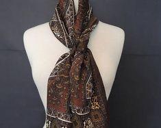 Oscar de la Renta Vintage Silk Earth Tones Multi pattern Oblong Scarf Earth Tones, Scarfs, Silk, Formal Dresses, Trending Outfits, Unique Jewelry, Handmade Gifts, Pattern, Etsy
