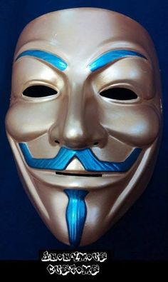 Anonymous Blue On Silver Custom Mask Guy Fawkes Hand Painted Anonymous Maske, Bear Meme, Vendetta Quotes, Mask Guy, Guy Fawkes Mask, Graffiti, Masks Art, The 5th Of November, Logo Nasa