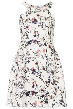 By Rare - White floral printed skater style dress with shaped neck detail. 65% Cotton, 35% Polyester. From Topshop US - $90.00