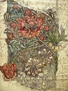 Strawberry Thief from the Archive Collection by William Morris. A classic William Morris floral and bird design in indigo with lighter blues, beiges and greens. William Morris Patterns, William Morris Art, Botanical Art, Botanical Illustration, Illustration Art, Art Nouveau, Textile Design, Textile Art, 3d Prints