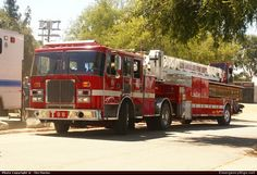 Ladder Towers Inc.  Aerial Los Angeles Fire Department Emergency Apparatus Fire Truck Photo