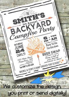 63 Ideas For Adult Camping Party Night Adult Camping Party, Camping Party Foods, Backyard Camping Parties, Invitation Flyer, Digital Invitations, Party Invitations, Invitation Design, Bonfire Birthday Party, Backyard Birthday