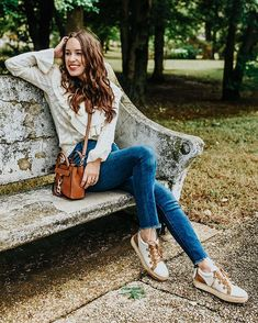 Casual Stylish Fall Outfit Inspo // Lone Star Looking Glass styles Lucchese Saddle Sneakers with Jeans and a Ruffled Sweater Trendy Outfits, Fall Outfits, Cute Outfits, Daily Fashion, Cool Style, Star, Women's Boots, Stylish, Sweatshirts