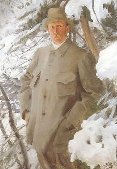 Portrait of Bruno Andreas Liljefors, 1909 by Anders Zorn. A hunting suit, I presume. Like this a lot.