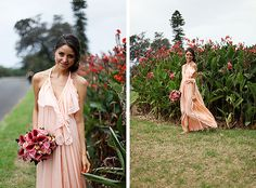 bridesmaid trend alert: flowy dresses   check out this peach Lisa Brown dress