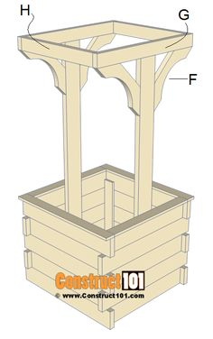 Wishing well plans, step Woodworking Outdoor Furniture, Woodworking Tools For Sale, Woodworking Projects Plans, Woodworking Patterns, Woodworking Workshop, Teds Woodworking, Wishing Well Garden, Wishing Well Plans, Wood Shop Projects