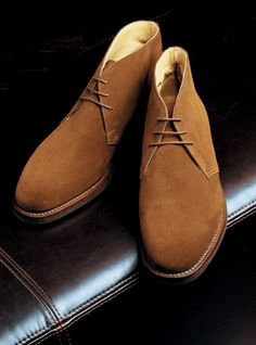 """From Crockett & Jones of England, """"The Chiltern"""" is our classic chukka boot in snuff suede. Featuring Goodyear-welted construction and hardy Dainite r. Suede Chukka Boots, Suede Shoes, Sock Shoes, Shoe Boots, Mens Designer Shoes, Gents Fashion, African Men Fashion, Fall Shoes, Men S Shoes"""
