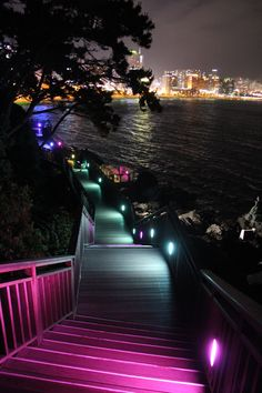 Walking trail that is built around Dongbaekseom Island in Busan, South Korea. This island is located off one end of Busan's famous Haeundae Beach. Though the years of sedimentation have connected the island to the mainland, Dongbaekseom was originally an island and is still referred to as one.