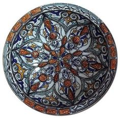 Moroccan Wall Decor Centerpiece Large Ceramic Bowl Plate Inlay Camel Bone Metal
