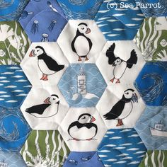 Hexie puffin mini patchwork quilt made using original fabrics from Sea Parrot. Available online on Folksy or contact me directly. Bird Quilt, Patchwork Fabric, Quilt Making, Parrot, Patches, Fabrics, Boards, Kids Rugs, Sea