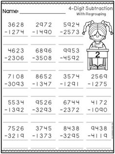 4 Digit Subtraction with Regrouping Worksheets by Learning Desk Subtraction With Regrouping Worksheets, Grade 5 Math Worksheets, Math Workbook, Coloring Worksheets, Grammar For Kids, Math Division, Math Facts, Logic Problems, Lottery Numbers