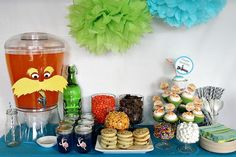 The Lorax dessert table.great set-up for a kid's bday party! Match with the Lorax cake pops! Book Birthday Parties, Dr Seuss Birthday, Birthday Ideas, 2nd Birthday, Themed Parties, Penguin Birthday, Birthday Stuff, Birthday Wishes, Movie Party