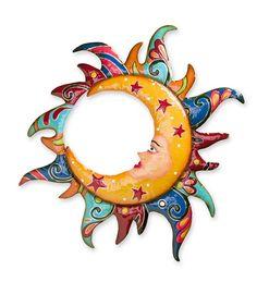 Main image for Talavera-Style Moon in Sun Metal Wall Art