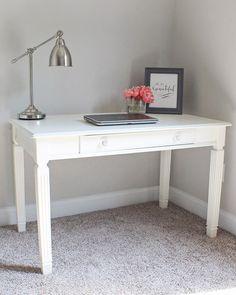Desk Makeover DIY - Before and After desk photos - Pained desk DIY - Pretty office desk