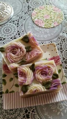 - looks good enough to eat rose soap Savon Soap, Soap Carving, Rose Soap, Homemade Soap Recipes, Bath Soap, Cold Process Soap, Home Made Soap, Handmade Soaps, Homemade Beauty