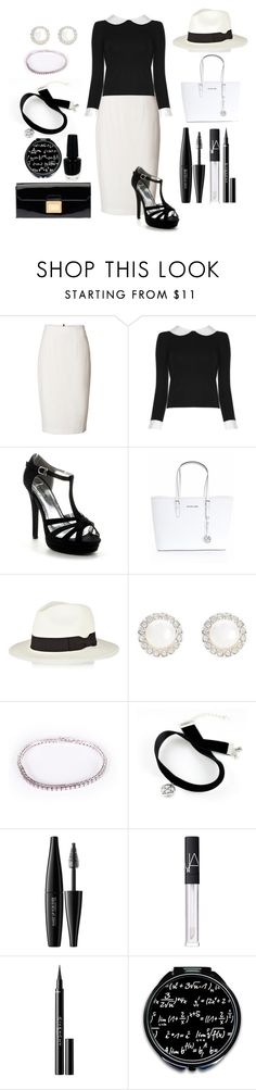 """""""Black and white"""" by alisijaa ❤ liked on Polyvore featuring Burberry, Alice + Olivia, Michael Kors, Sensi Studio, Snö Of Sweden, OPI, MAKE UP FOR EVER, NARS Cosmetics, Givenchy and Miu Miu"""