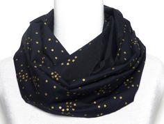 Polina Couture - Echarpe Snood noir en Soie   Coton, Pois dorée, Tissus  Japonais c426ffcc792