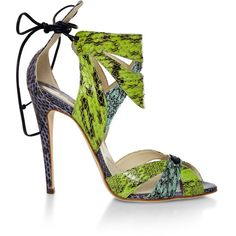Brian Atwood Uma Snakeskin Sandals ($460) found on Polyvore featuring shoes, sandals, green, multi, snake skin shoes, python print shoes, tie shoes, python sandals and brian atwood