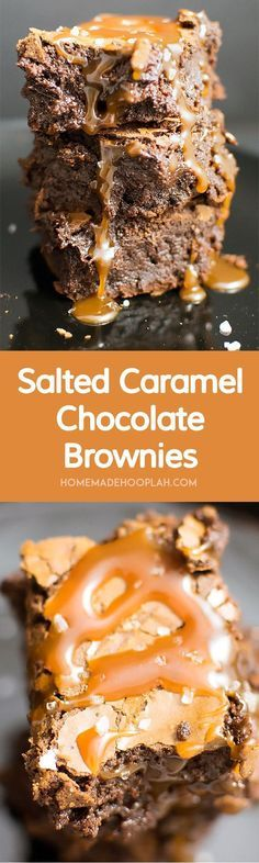Salted Caramel Chocolate Brownies! Give in to your sweet tooth with this ultimate recipe for salted caramel brownies!   HomemadeHooplah.com
