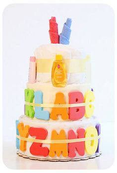 ABC Bath Time Boutique Style Diaper Cake by laurawopp on Etsy, $90.00