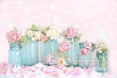 Shabby Chic Floral Photography, Dreamy Vintage Aqua Ball Jars Photo, Still Life Photography, Romantic Ball Jars Pink Floral Photography 8x12...