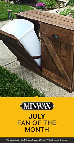 Kraig Faulkner built this recycling bin out of reclaimed wood and stained it with Minwax® Wood Finish™ in English Chestnut. Do you think Kraig is July's #FanoftheMonth? REPIN or LIKE to show your love!