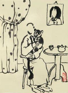 2014.1.1.                                              說話又到新年,窮忙卻總裝閒。            趁著元旦无事,抱貓坐上一天。