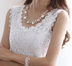 Touch of Grace White lace Sleeveless Top - LOVE this!   www.thechicfind.com