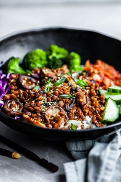 This quick Korean inspired lentil dinner is delicious, easy and nutritious. A super flavorful quick sauce is simmered with lentils and seared mushrooms. Quick Vegan Meals, Vegan Recipes Easy, Asian Recipes, Vegetarian Recipes, Cooking Recipes, Ethnic Recipes, Healthy Meals, Healthy Food, Healthy Eating