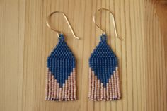 short and wide BLUE brick-stitched delica seed bead earrings- Rachel Glass - EUA