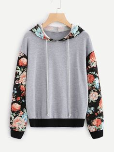 Shop Floral Sleeve And Hood Heather Knit Sweatshirt online. SheIn offers Floral Sleeve And Hood Heather Knit Sweatshirt & more to fit your fashionable needs. Girls Fashion Clothes, Teen Fashion, Fashion Outfits, Trendy Hoodies, Pullover Designs, Floral Sleeve, Character Outfits, Sweater Hoodie, Sweatshirt Outfit