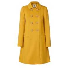 Orla Kiely: Wool jersey A-line coat with seamed panel feature on front. Double breasted with vintage inspired gold buttons. Fully lined.        Length: 36in