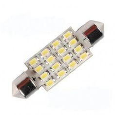 Bright White 16 SMD LED Car Interior Festoon Dome Light Bulbs 40mm 5050 6429, 12844, DE440