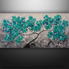 Abstract Painting Abstract Modern Landscape Tree Palette Knife Painting Art by Gabriela 48x24 Large Aqua Blue Abstract Painting