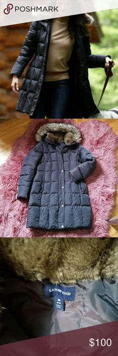"""Lands' End Women?s Shimmer Down Coat Lands? End women?s shimmer down coat. Removable fur on both hood and collar. Many pockets, zipper detail on wrists, fleece lined sleeves. Super warm and great fit. 35"""" from shoulder to hem. Dark olive green/brown. Like new! Lands' End Jackets & Coats Puffers"""