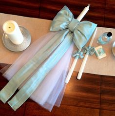Traditional Bow for Greek Orthodox Baptismal Set Paper Crafts For Kids, Diy And Crafts, Long Candles, Traditional Bow, Baptism Candle, Palm Sunday, Greek Wedding, Baby Christening, Candle Set