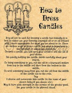 How to Dress Candles, Book of Shadows, Wiccan, Witchcraft, Pagan
