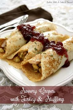 Savory Crepes with Turkey & Stuffing~ a new twist on holiday leftovers! (Crepes made WITH mashed potatoes!) from Butter With A Side of Bread (Leftover Potato Recipes) Thanksgiving Leftovers, Thanksgiving Recipes, Fall Recipes, Holiday Recipes, Crepe Recipes, Brunch Recipes, Breakfast Recipes, Savory Breakfast, Breakfast Time