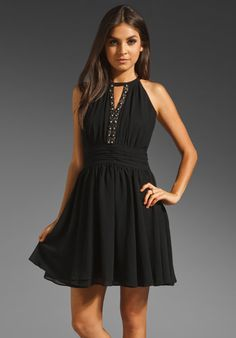 MM Couture by Miss Me Embellished Chiffon Dress with Cut Out Back in Black
