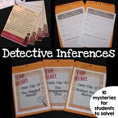 FUN Inference and Drawing Conclusions ActivityLet your students become detectives with these ten mysteries! Students will need to rely on their inferencing skills and use the clues in the reading passages to solve each case.***************************************************************************Use in many different ways!This activity is perfect for literacy stations or reading centers.