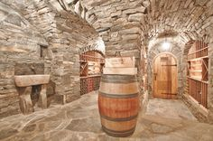 Stone Wine Cellar with rustic sink carved out of stone...