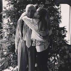 """another photo to my collection """"ari kissing grandpa's cheek"""""""