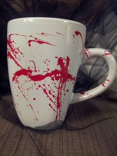 Blood Splattered Coffee Cup on Etsy, £5.10
